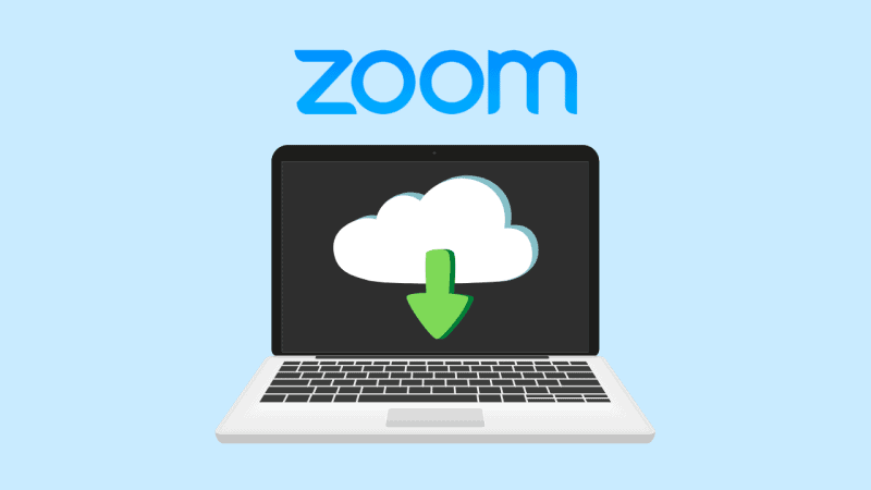 Laptop downloading a recording from the Zoom cloud server