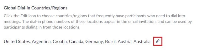 Changing default region numbers that appear in a Zoom meeting invitation