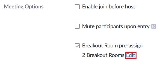 Edit pre-assigned breakout rooms