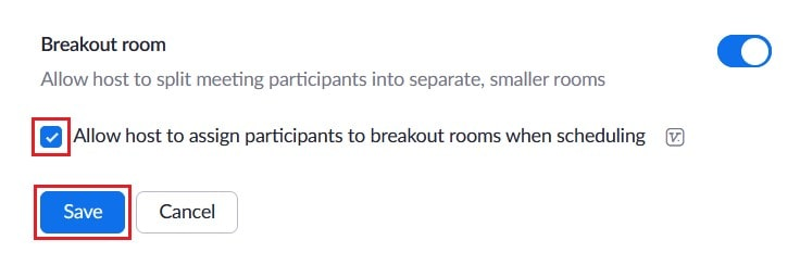 Toggle for enabling or disabling pre-assigned breakout room groups