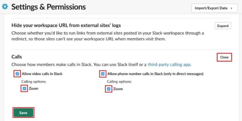 Enabling alternate methods of using the Zoom integration in Slack
