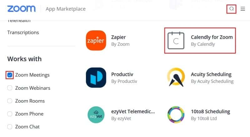 Searching for the Calendly integration on the app Marketplace