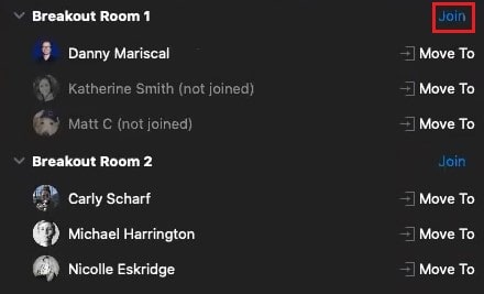 Joining a breakout room as a meeting host