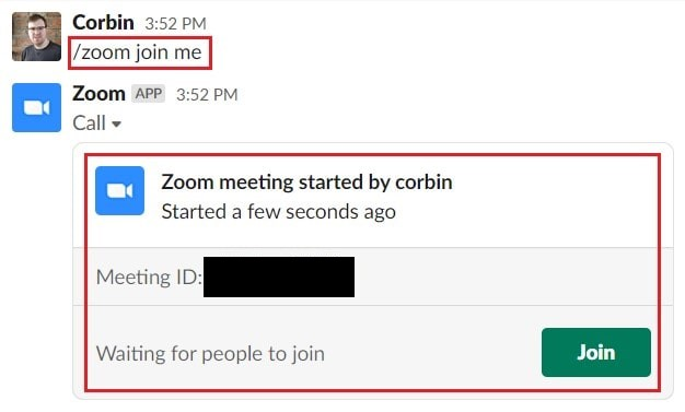 Starting a meeting in your personal Zoom meeting room from Slack