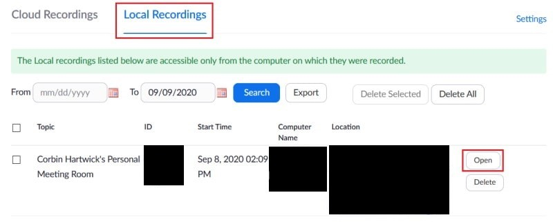 Shortcut to a local folder containing recorded Zoom meeting files