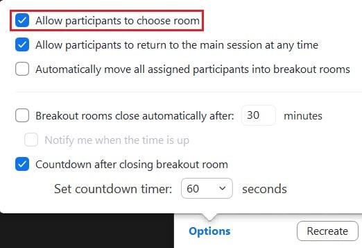 Enabling or disabling the option for participants to join their own breakout rooms
