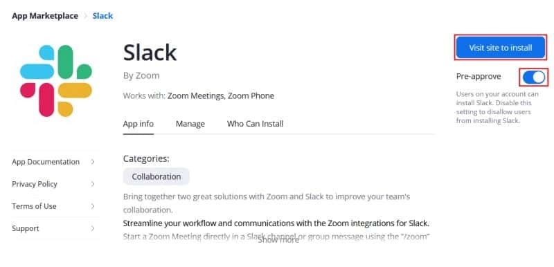 Pre-approve Zoom for Slack installation and proceed