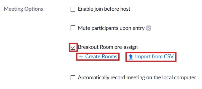 Toggle and options for pre-assigning breakout rooms