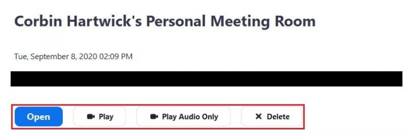 Options for a recorded Zoom meeting on the desktop app