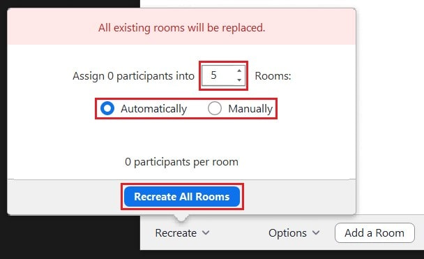 Resetting all breakout rooms to automatic or manual assignment