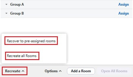 Recreate breakout rooms function with recover to pre-assigned rooms option available