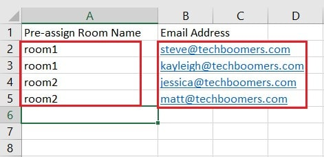 Sample of a properly-formatted breakout room CSV file