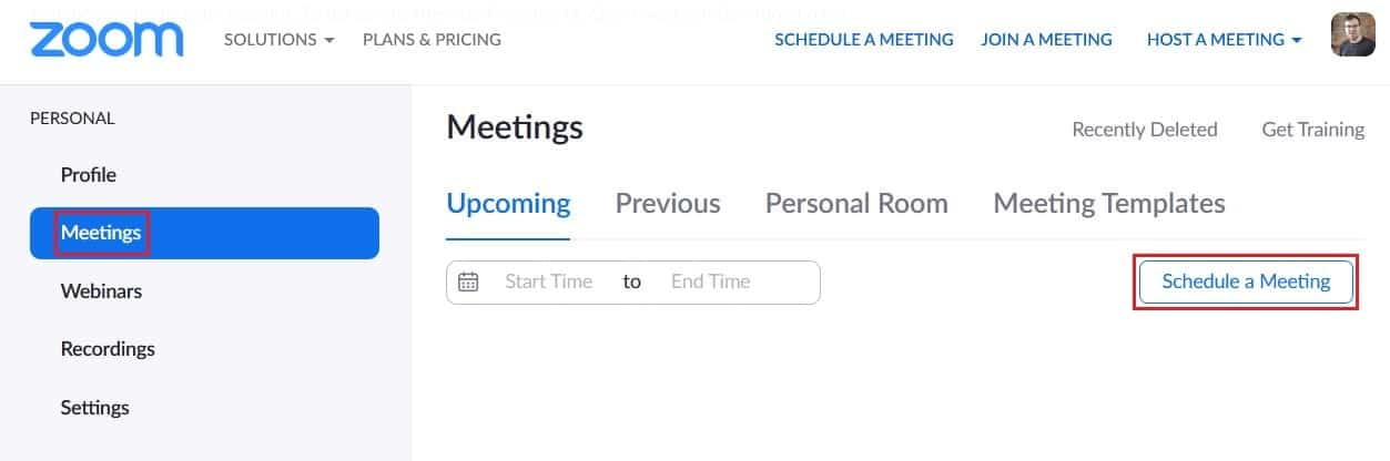 Scheduling a Zoom meeting from the web portal