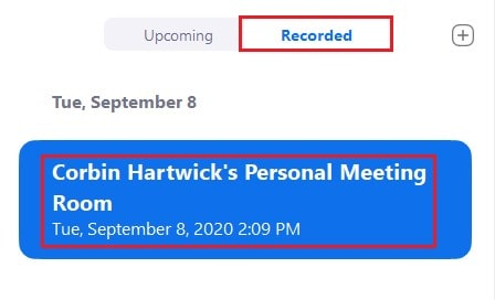 Selecting a recorded Zoom meeting to view in the desktop app