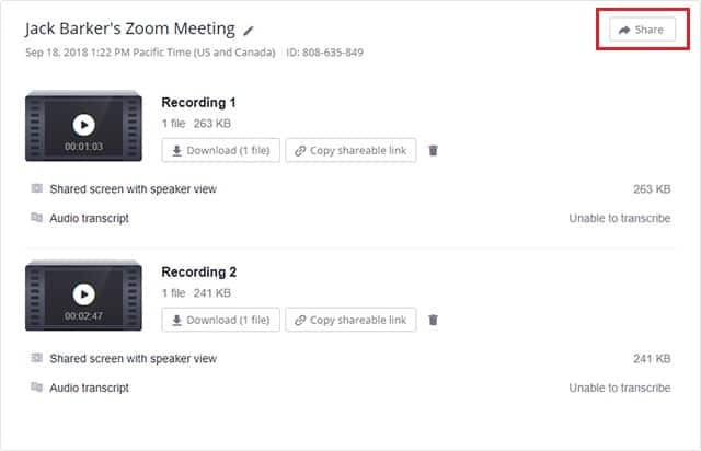 View sharing options for a cloud recording