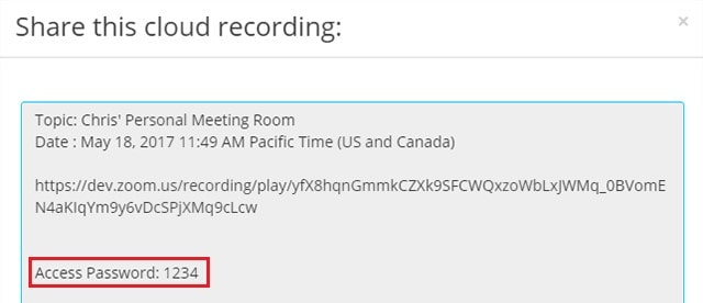 Example of password information for a shared recording