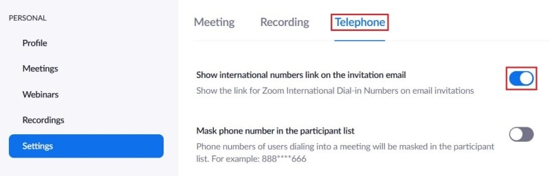 Zoom telephone settings option for adding a global dial-in numbers link to an email invitation