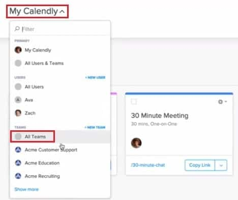 View event types for all Calendly teams