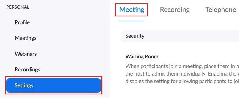 Editing general meeting settings for Zoom