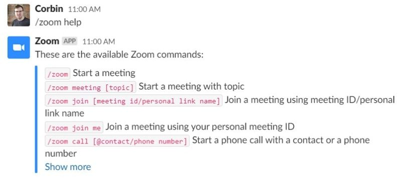 Bringing up a list of all Zoom integration functions in Slack