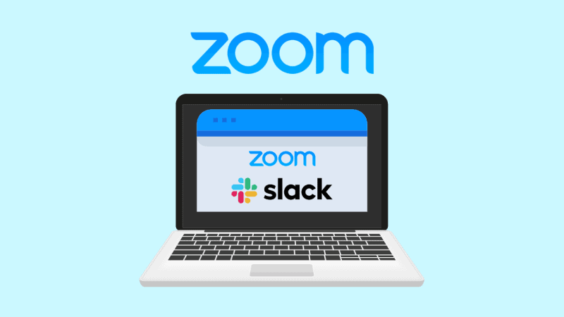 A laptop with the Zoom and Slack logos together