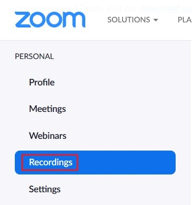 Recordings section of your Zoom account