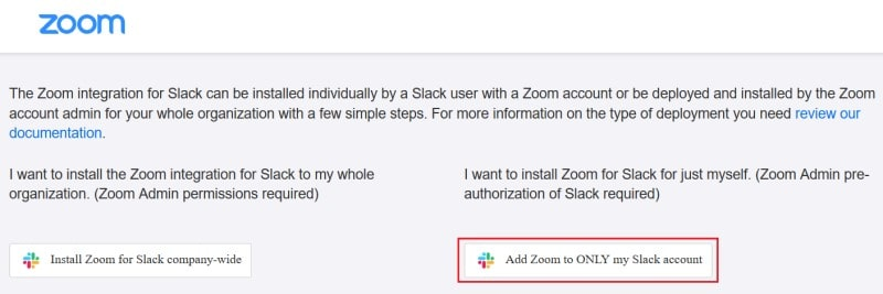 Choosing to install the Zoom extension for your personal Slack account only