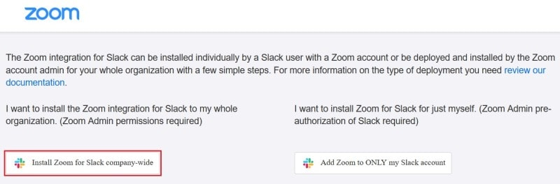 Choosing to install the Zoom extension for your entire Slack team