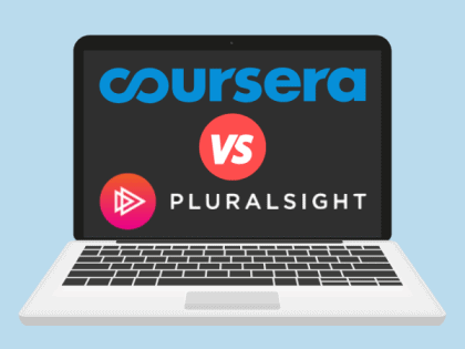 A laptop displaying Coursera vs. Pluralsight