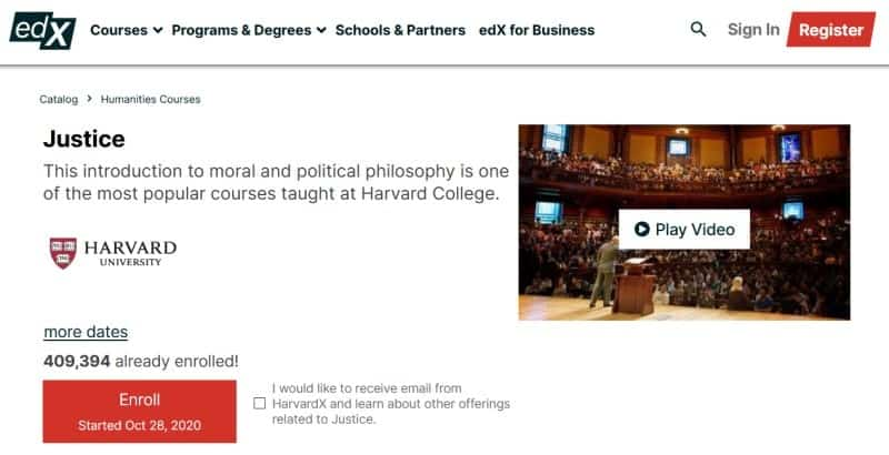 Homepage of Harvard University's 'Justice' course on edX