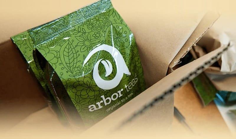 arbors tea packet in cardboard box