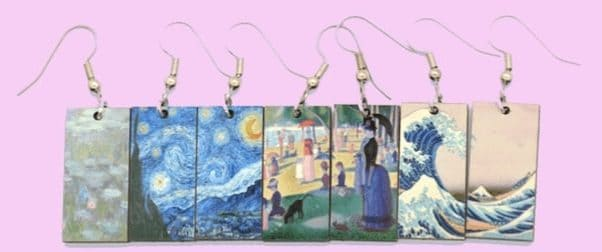 earrings with paintings print on them