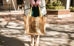 woman holding brown eco-friendly shopping bag