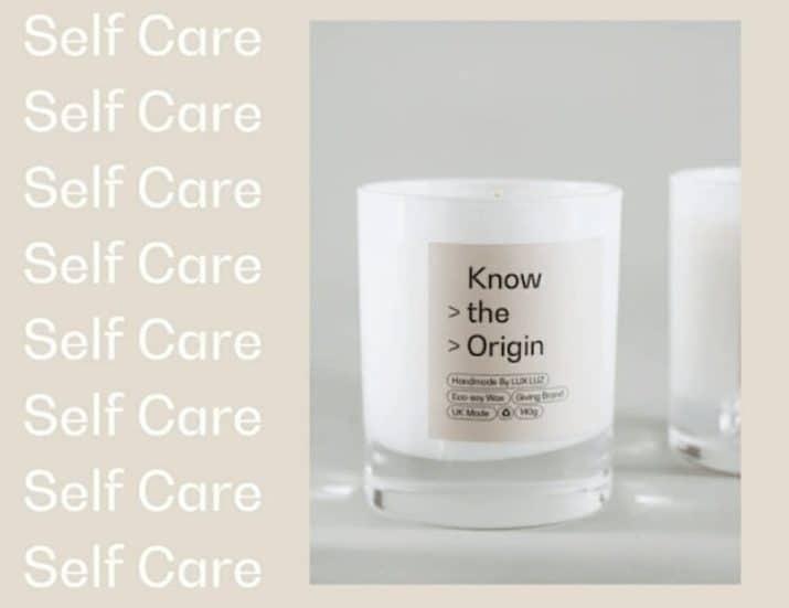 self care know the origin white candle