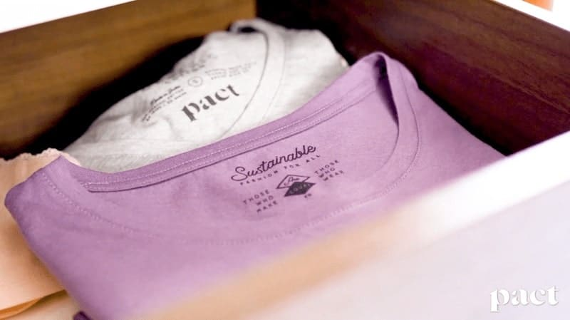 white and lilac Pact t shirts