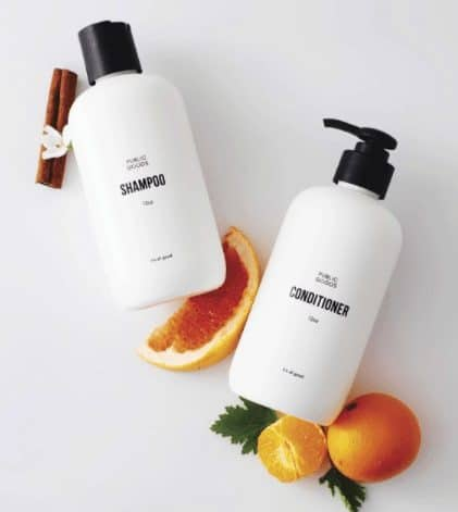 public goods shampoo and conditioner with orange and cinnamon