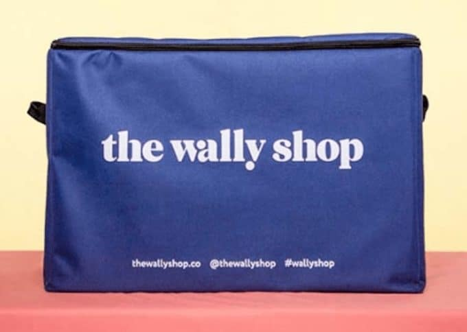 blue pouch with the wally shop social links