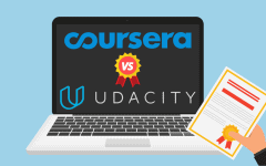 Laptop displaying 'Udacity vs. Coursera' with hand holding a certificate