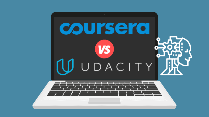 Laptop displaying 'Udacity vs. Coursera' with robot learning image concept