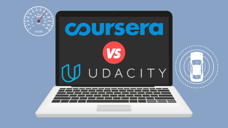 Laptop displaying 'Udacity vs. Coursera' with images of car's speedometer and proximity measurements