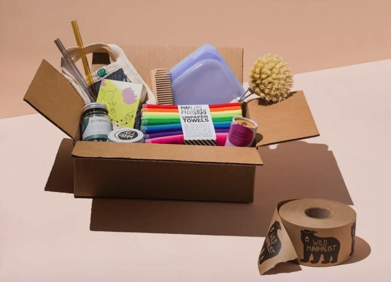 brown cardboard box with eco-friendly home essentials