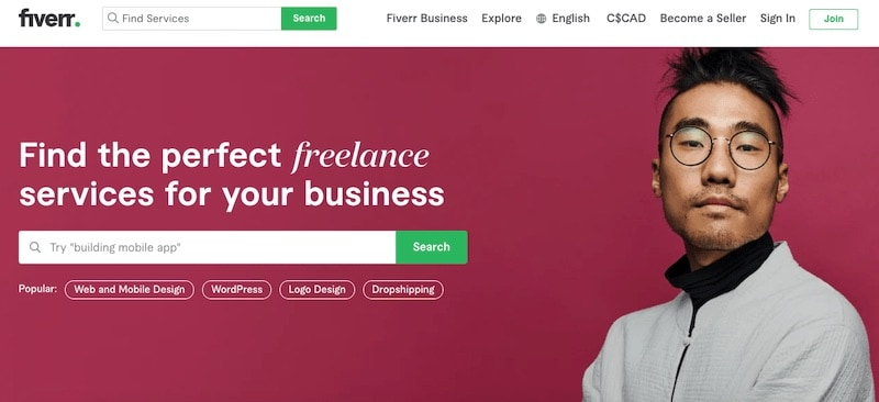 Fiverr homepage with maroon background