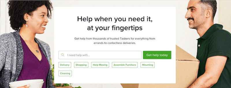 TaskRabbit homepage man and woman smiling at each other