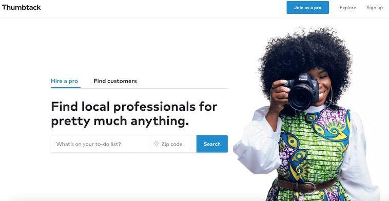 Thumbtack homepage female photographer