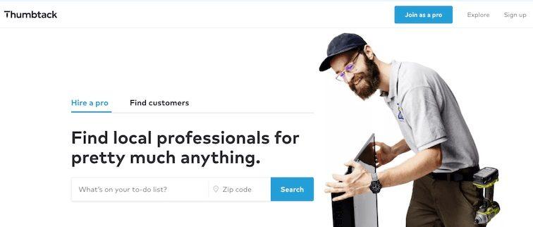 thumbtack homepage with handyman