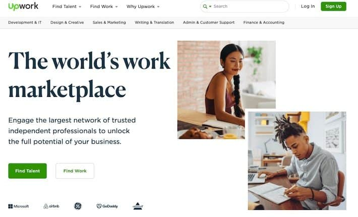 Upwork homepage with a male and female professional