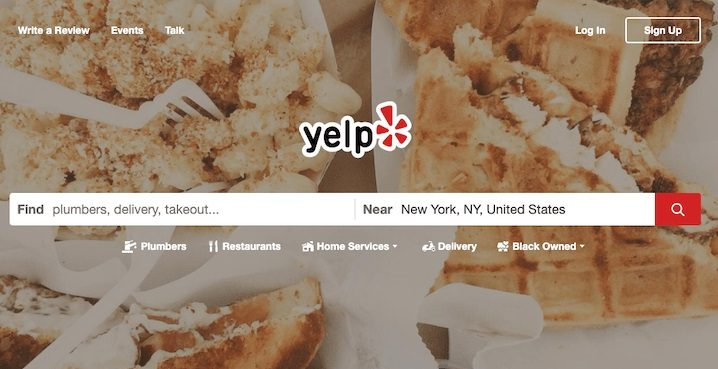 yelp homepage with food background