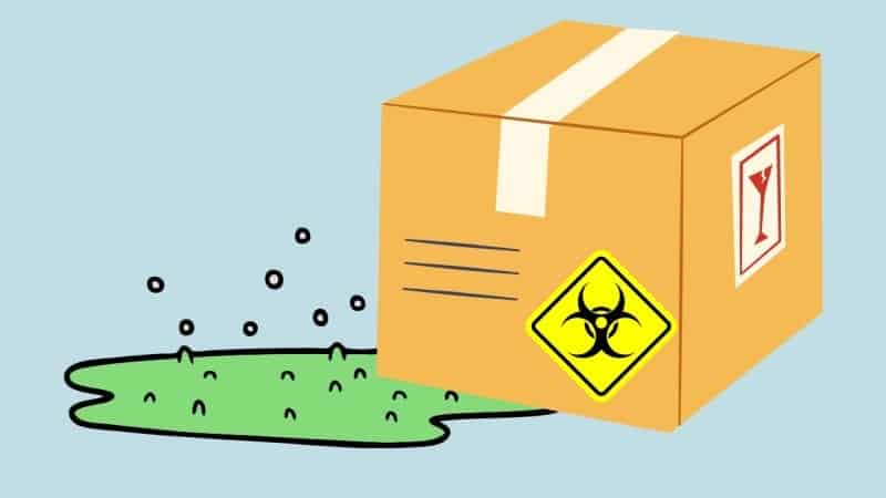 Hazardous material leaking out of a package