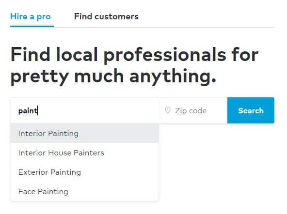 Thumbtack app showing a search for painting jobs