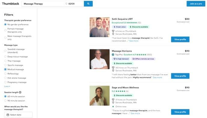 massage therapist search results page